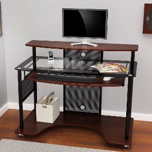 Z-Line Designs Cyrus Workstation - Best Home Office Desk for Multiple Monitors: Keyboard Tray with Room for a Mouse