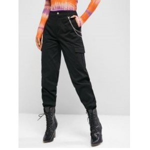 Zaful High Waisted Chains Cargo Pants - Best Cargo Pants Streetwear: Cargo Pant with Chain Feature