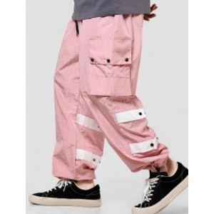 Zaful Contrast Striped Flap Pockets Casual Cargo Pants - Best Cargo Pants for Men: Cargo Pants with Drawstring Closure