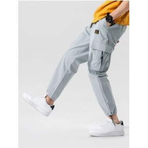 Zaful Elastic Waist Multi-pocket Cargo Jogger Pants - Best Cargo Pants Streetwear: Stylish Plain Cargo Pants
