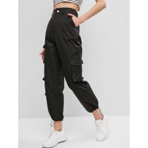 Zaful Pockets Zipper Fly Drawstring Pants - Best Cargo Pants Streetwear: Flattering High Waistline Cargo Pants