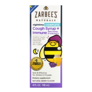 Zarbee's Nighttime Cough Syrup + Immune - Best Elderberry Syrup for Toddlers: Great Immunity and Soothe Cough
