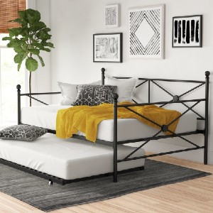 Zipcode Design™ Timberwyck Metal Daybed with Trundle - Best Full-Size Daybeds: Minimalist and Simple Metal Daybed