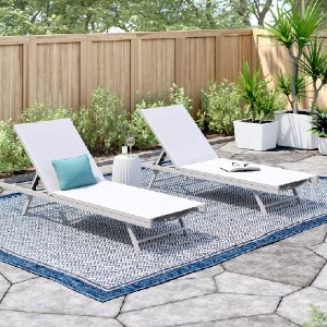 Zipcode Design™ Reclining Sun Lounger Set (Set of 2) - Best Poolside Chaise Lounge: Contemporary Style Outdoor Chaise Lounge