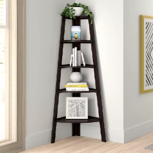 Zipcode Design™ Tisha Solid Wood Corner Bookcase - Best Bookcases for Small Spaces: Versatile Corner Bookcase