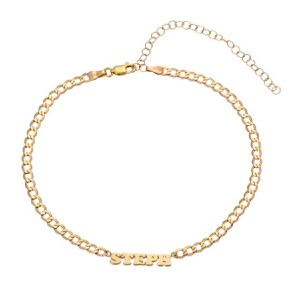 Zoe Lev Jewelry Personalized Cuban Link Choker Necklace  - Best Nameplate Necklace: Nameplate Chain Necklace