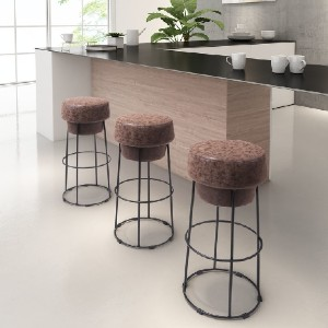 Zuo Pop Barstool Natural & Black - Best Bar Stools for Kitchen Island: Simple Look Bar Stool with Plush Bottle Cap-Shaped Seat