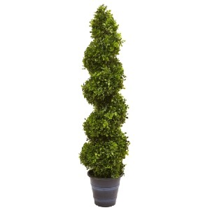 Nearly Natural Boxwood Spiral Topiary with Planter - Best Artificial Plants for Outdoors: Adds Height and Dimension to Any Room