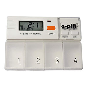 e-Pill MedGlider Reminder with Attached 4 Compartment  - Best Pill Boxes with Alarm: Medium Capacity Pill Organizer