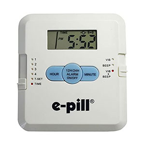 e-Pill 4 Alarm Pill Box Organizer - Best Pill Boxes with Alarm: Easy to Set and Light