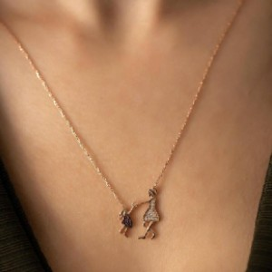 elysajewellery Mother Daughter Necklace in silver chain - Best Necklace for Mom: Sweet Necklace for Mom