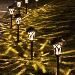 GIGALUMI Bronze Solar Powered Integrated LED Pathway Light Pack (Set of 6) - Best Outdoor House Lights: Attractive Pattern Pathway Lights