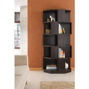 ioHOMES Bassey Contemporary 5-Shelf Corner Bookcase - Best Solid Wood Bookcases: Durable Base Design