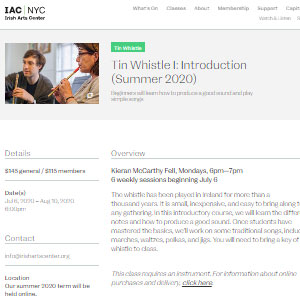 Irish Arts Center Tin Whistle I: Introduction (Summer 2020) - Best Online Tin Whistle Lessons: Conducted via Zoom