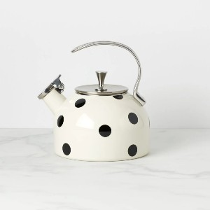 Kate Spade New York Deco Dot 2.5 qt. Stainless Steel Whistling Stovetop Kettle - Best Tea Kettle for Gas Stove: Unique Black Dots Kettle