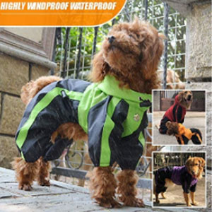 Lovelonglong Store Waterproof Clothes with Hood Breathable 4 Feet  - Best Raincoats for Dogs: Raincoat with 4 Feet Design