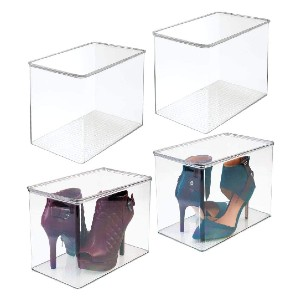 mDesign Stackable Closet Plastic Storage Bin Box with Lid - Best Sneaker Storage Boxes: High Box Design