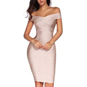 Meilun Women's Rayon Off Shoulder Party Dress  - Best Dress for Reception Party: Show off your hourglass silhouette