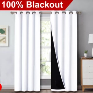NICETOWN 2 Layers 100% BlackoutThick Thermal Insulated Curtain (1 Panel) - Best Curtains for Sliding Glass Doors: Easy Maintenance Curtain