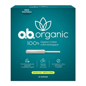 o.b. Organic Tampons  - Best Organic Tampons for Beginners: 8 hours protection