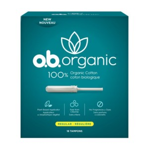 o.b. Organic Plant-Based Applicator Tampons - Best Organic Pads and Tampons: 8 hours protection