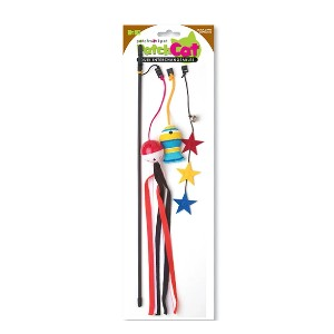 Patchworkpet Gone Fishing Black Cat Wand- Cat Toy - Best Cat Toys for Indoor Cats: Fishing Cat Toy Wand