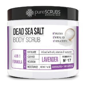 pureSCRUBS Dead Sea Salt Body Scrub  - Best Body Scrub for Ingrown Hairs: Helps Reduce Appearance of Cellulite, Stretch Marks