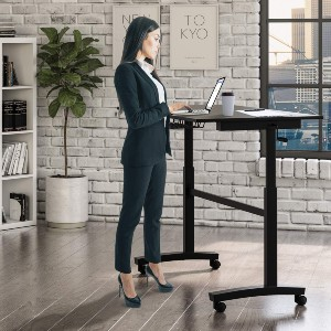 urb SPACE Atlantic Crank Adjustable Height Desk - Best Adjustable Standing Desk on a Budget: Sit-To-Stand Desk with Wheels