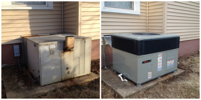<strong>Trane Packaged Heat Pump</strong><br>Packaged Heat Pump Installation Before and After