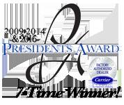 Carrier President's Award 2009-2014, 2016