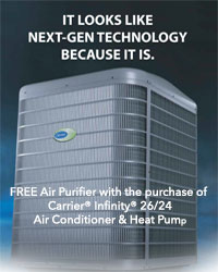 FREE Air Purifier with the purchase of Carrier® Infinity® 26/24 Air Conditioner & Heat Pump