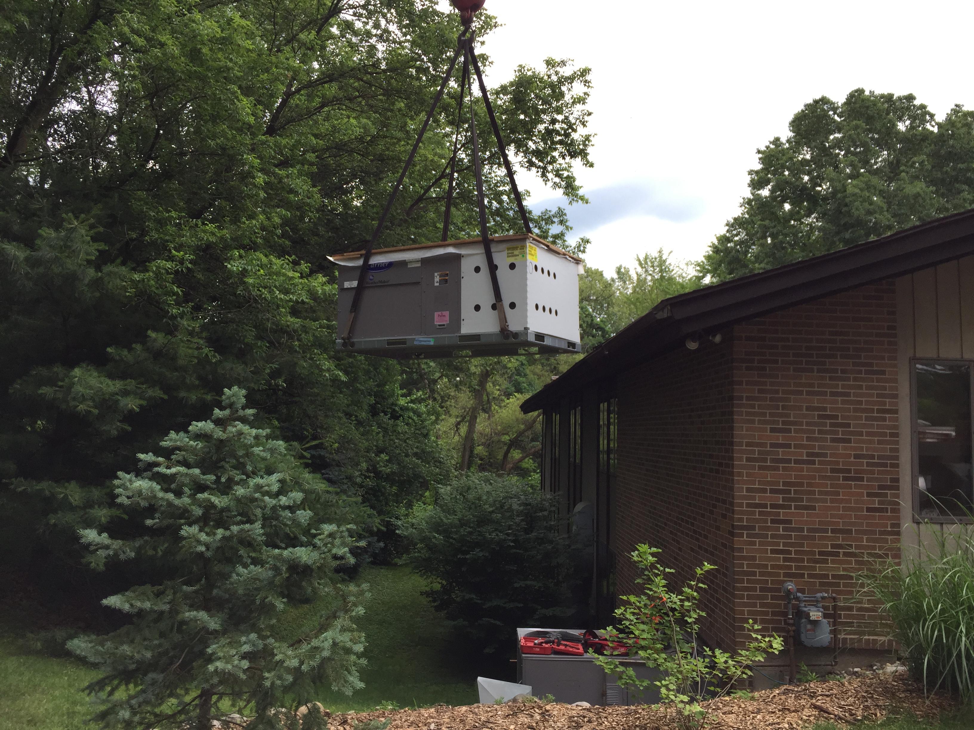 Lifting Commercial HVAC Unit