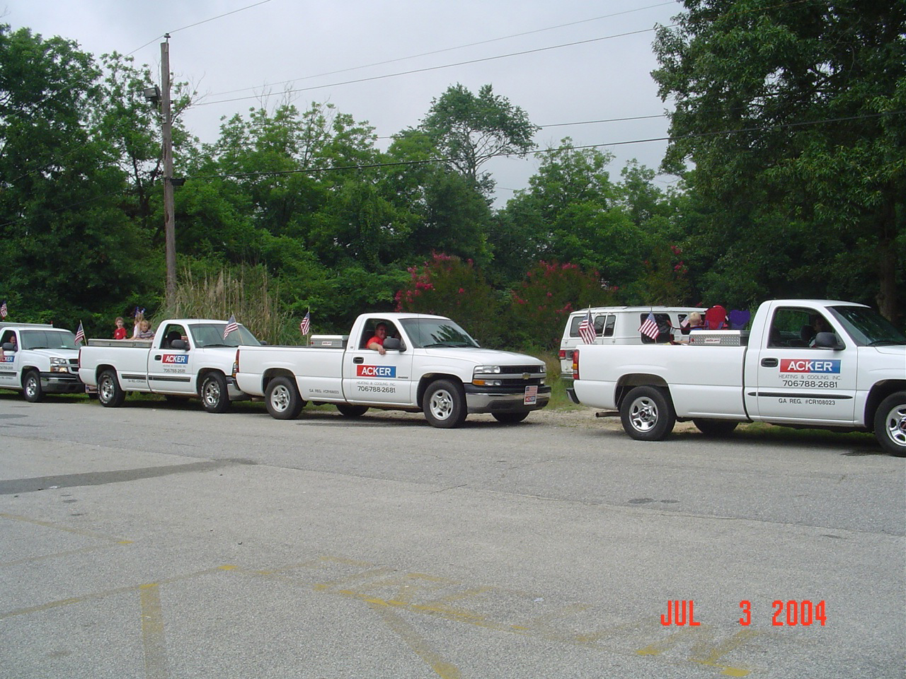 Acker trucks getting ready for the Colbert Georgia 4th of July parade.