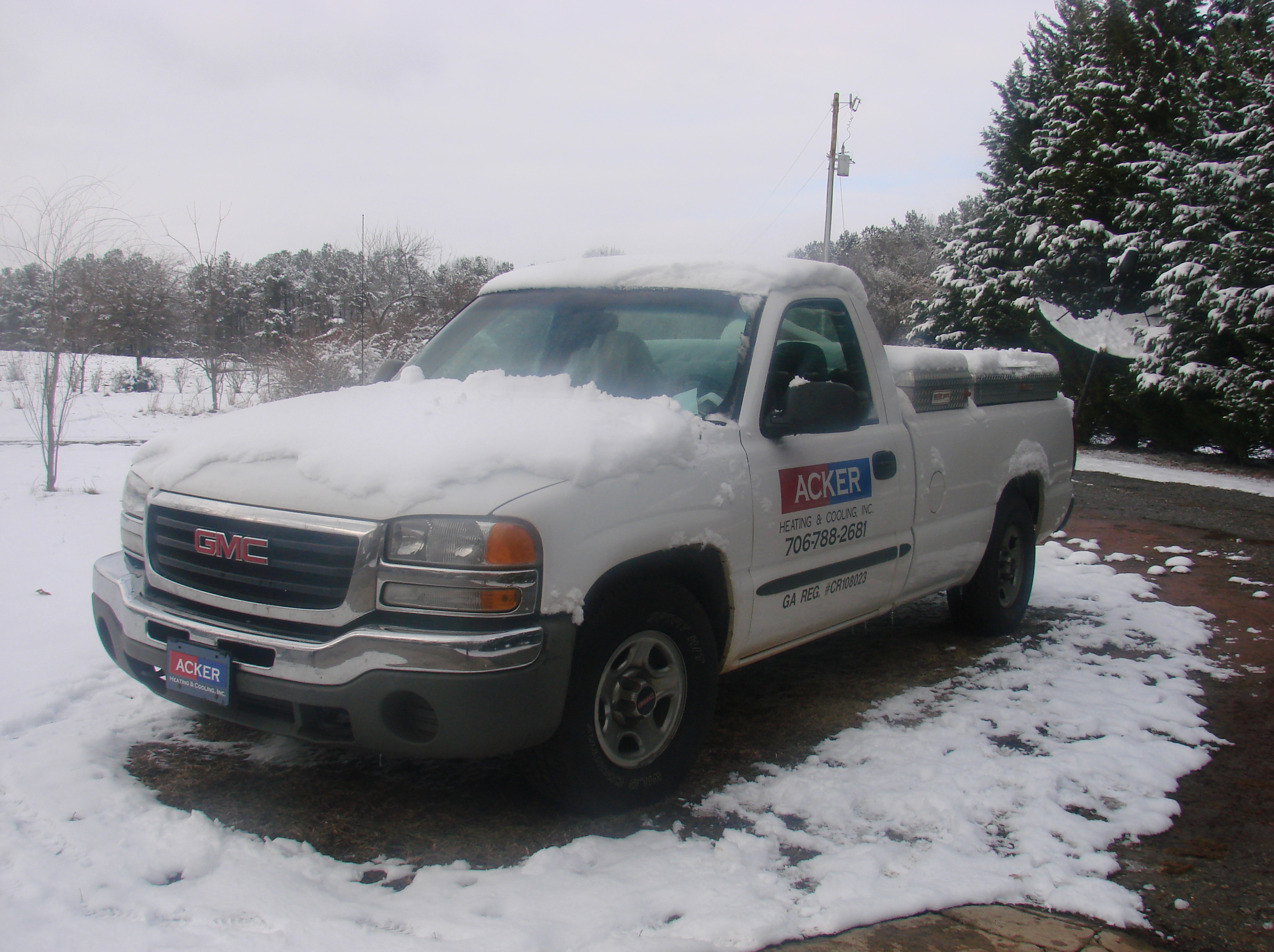 Rain, Sleet, Snow or Shine - the Acker truck is ready to help customers in need!