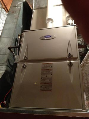 Carrier 98% efficient modulating gas furnace with 20 SEER Greenspeed heat pump