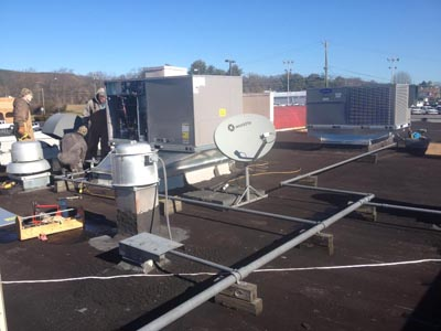 Two new Carrier Gas Packaged Rooftop Unit Installation