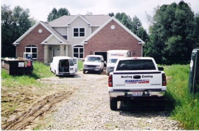 Our team of professionals are experienced in providing the best service and quality parts to ensure years of trouble-free heating and cooling. This house was pictured in full construction mode. The driveway and landscaping was only on plan sheets at this time. This house has a geothermal heating and cooling system and is saving the home owner energy dollars. This