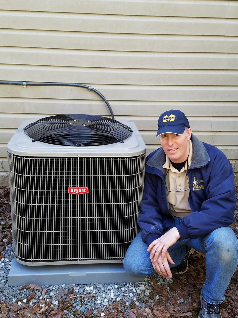 A sweet older lady gets a new heat pump for winter.
