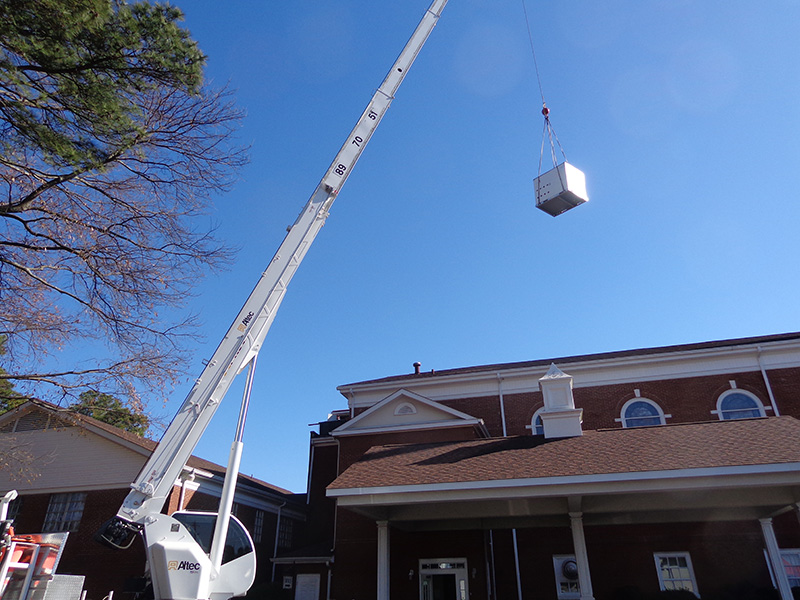 Commercial Rooftop HVAC Installation<br>National Hills Baptist Church - Augusta, GA