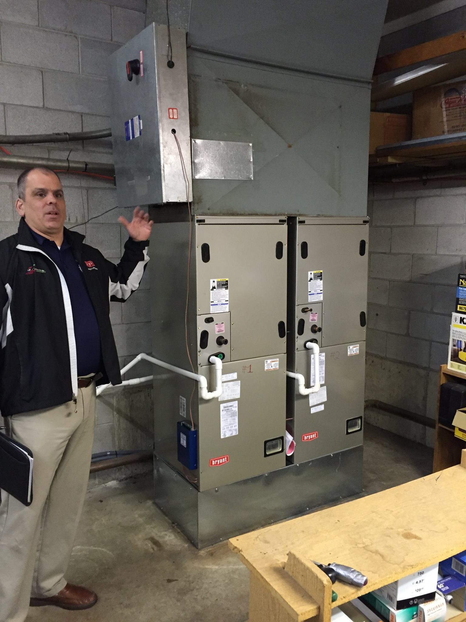 Furnace installation at a local country club<br />Bryant Rep approved