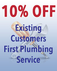 Existing customers receive 10% off of their first plumbing service