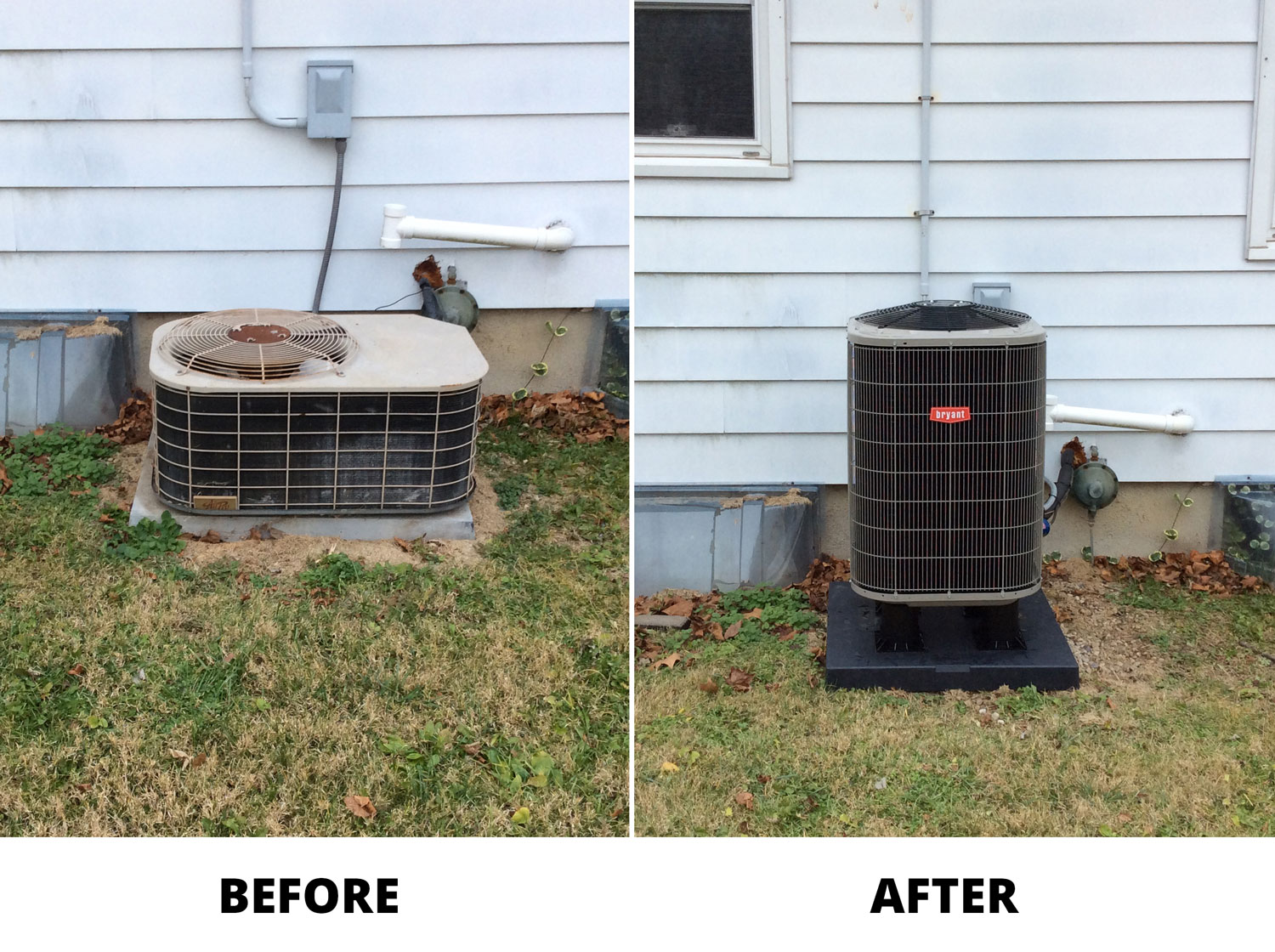 Air Conditioner Replacement Before and After