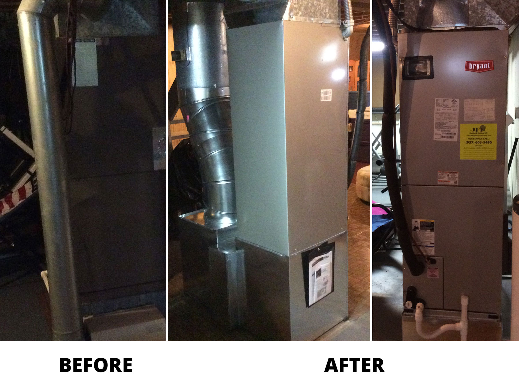 Bryant 14 SEER 2 ton Heat Pump and Air Handler Install Before and After