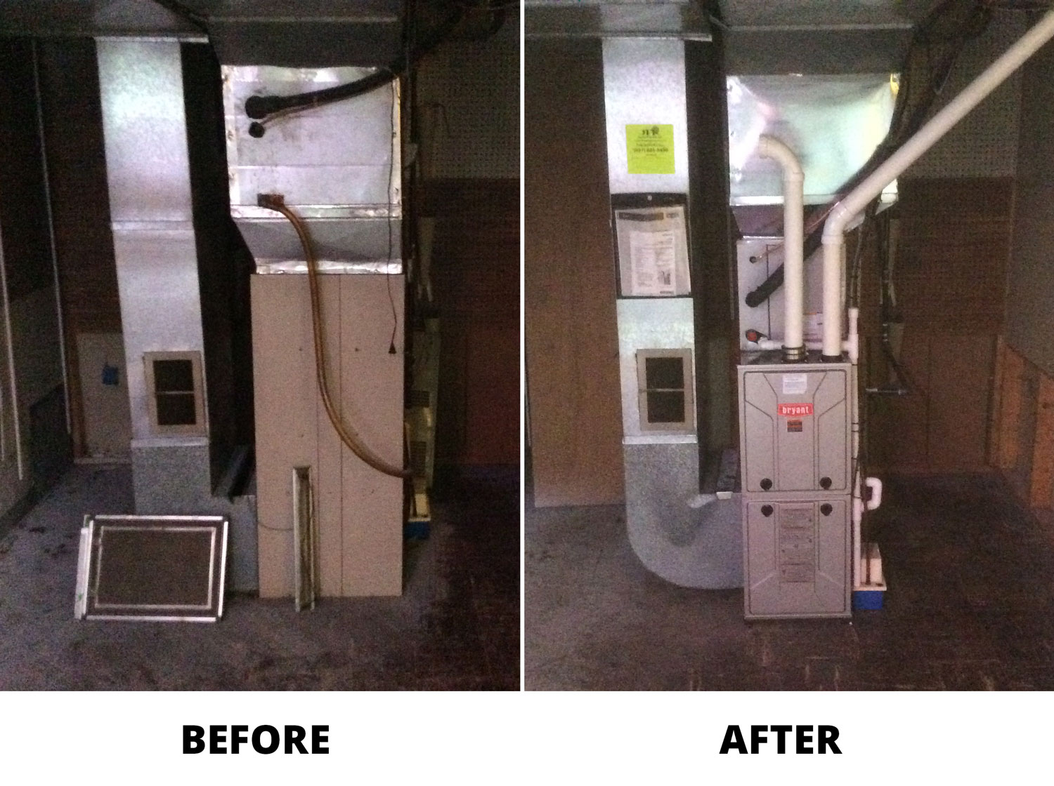Bryant Heating Replacement Before and After