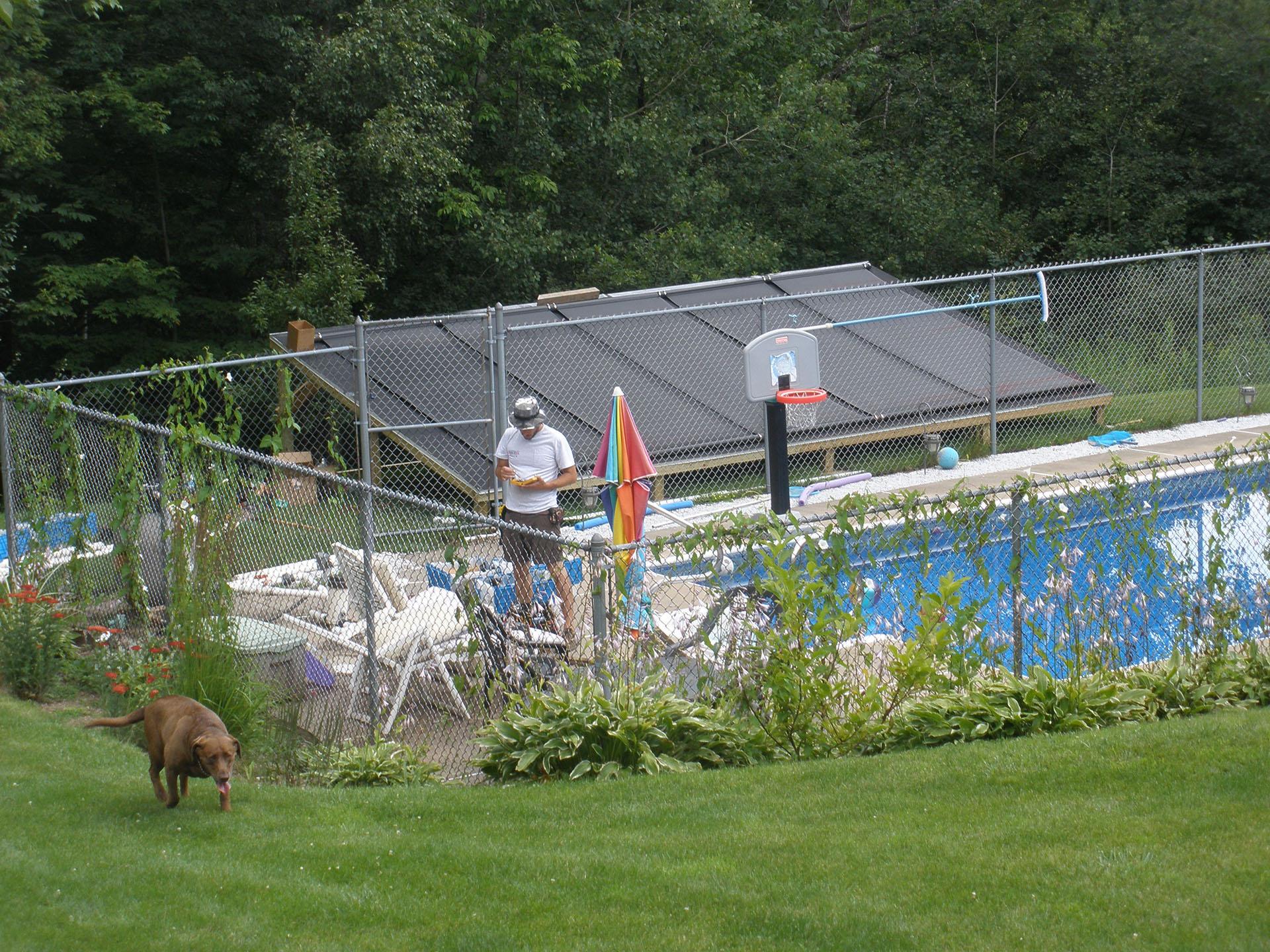 Ground-Mount Solar Panel Pool Heater Installation