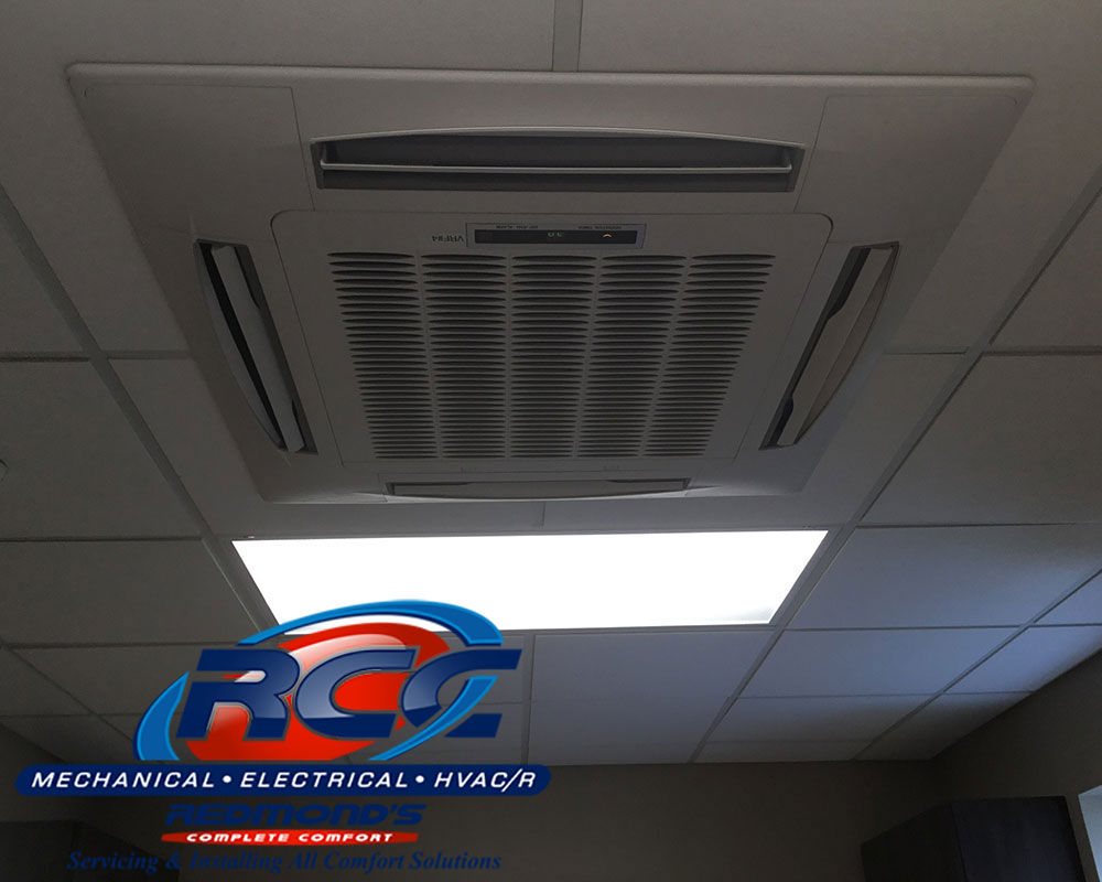 Bryant Ceiling cassette ductless heat pump in basement remodel in Bellefonte, PA