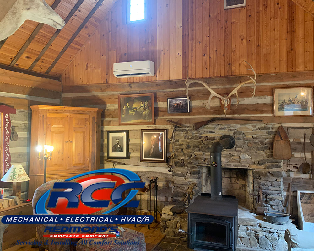 Bryant ductless heat pump inside cabin near Beech Creek and Jersey Shore, PA