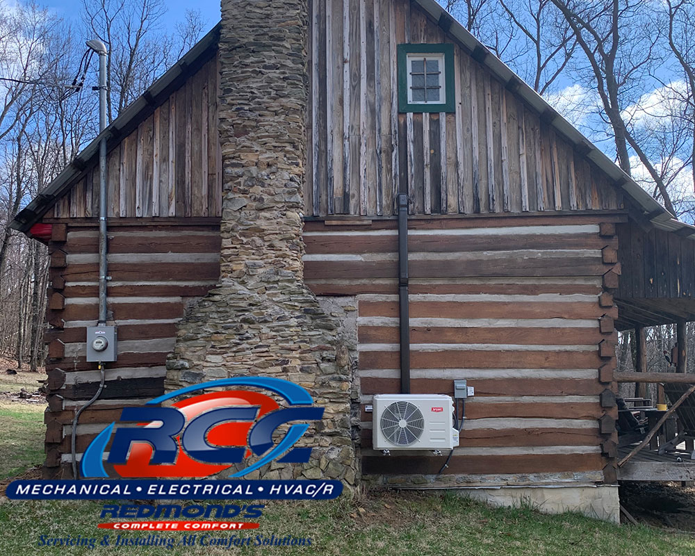 Bryant ductless heat pump outside cabin near Beech Creek and Lamar, PA