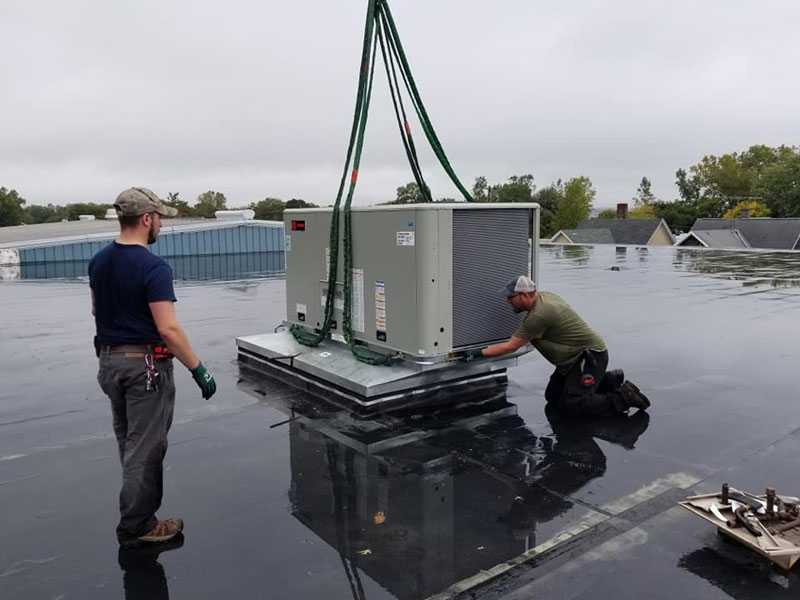 Installed two Trane rooftop units for a local commercial customer in Geneva