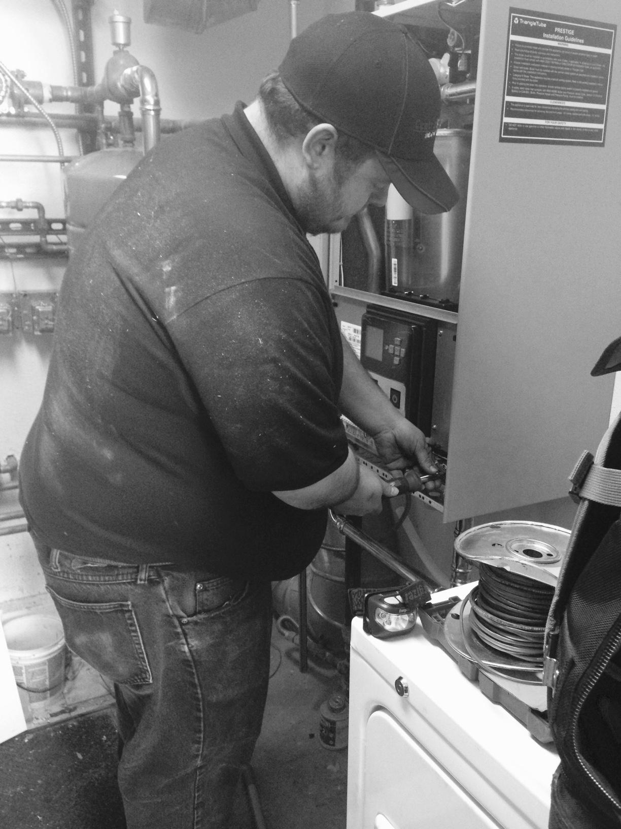 Bob working on Boiler